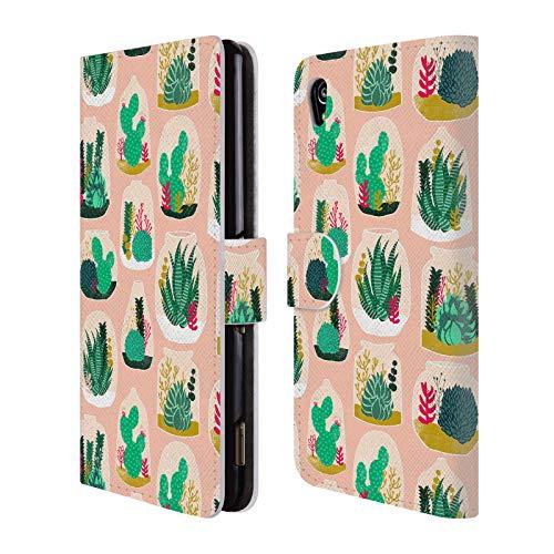 Officiële Andrea Lauren Design Terrarium Plant Patroon Lederen Book Portemonnee Cover Compatibel voor Sony Xperia M4 Aqua