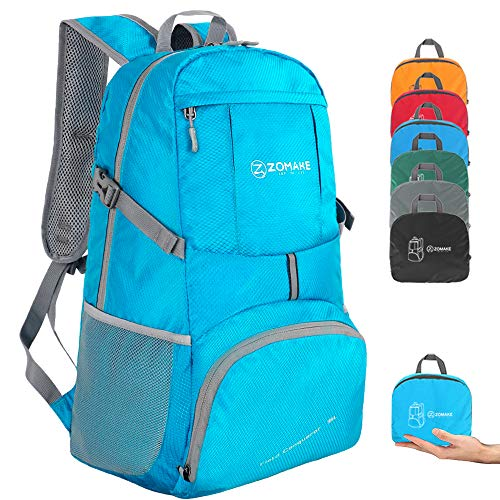 ZOMAKE Lightweight Foldable Backpack 35L, Water Resistant Rucksack, Unisex Nylon Daypack for Travel Hiking Cycling Outdoor Sport (Light Blue)