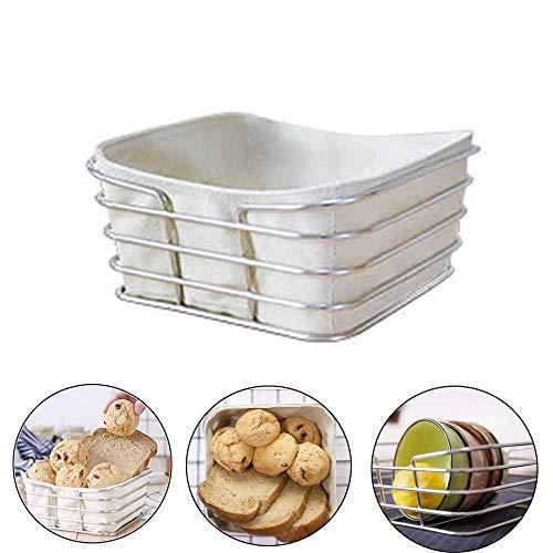 Speede Broodmand met broodzak, metaal, ontbijtmand, keukenplank, bewaarmand voor brood, eten, moderne milieubescherming, rechthoekig, 20 x 20 x 10 cm