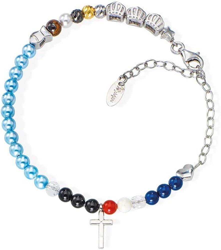 Amen,bracciale unisex,in argento 925 e perle swarovski multicolor BRVIGE