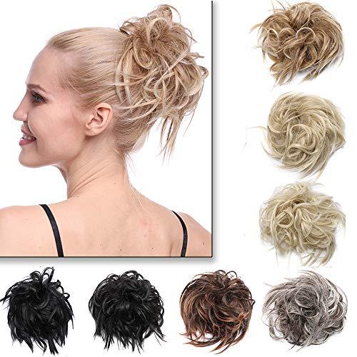 Haarteil Haargummi Hair Extensions Struppig Dutt Hochsteckfrisuren Günstig Weich Haarteil wie Echthaar 45g Mittelbraun & Dunkelbraun