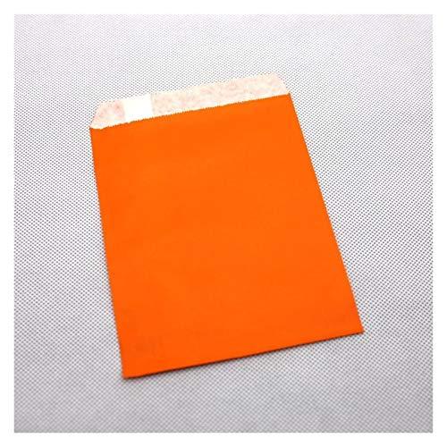 Apricot blossom 25pcs Coloridas Bolsas de Papel Kraft, Bolsos del Favor, Tratamiento de Las Bolsas, Embalaje de Regalo, Productos de panificación Bolsa (Color : Orange, Gift Bag Size : 16x23cm)