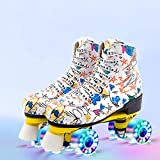 Roller Skates with Faux Leather Graffiti Skating Flash Wheel, Comfortable Double-Row Roller Skate for Men and Women (White with Flashing Wheel,7 US)