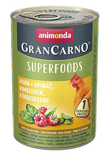 animonda Gran Carno adult Superfoods Hundefutter, Nassfutter für ausgewachsene Hunde, Huhn + Spinat, Himbeeren, Kürbiskerne, 6 x 400 g, 6er Pack (6 x 0.4 kilograms)