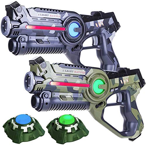 Light Battle Laser-Tag Set - 2 Laserpistolen (camo grün, camo grau) + 2 Ziele - LBAP22256