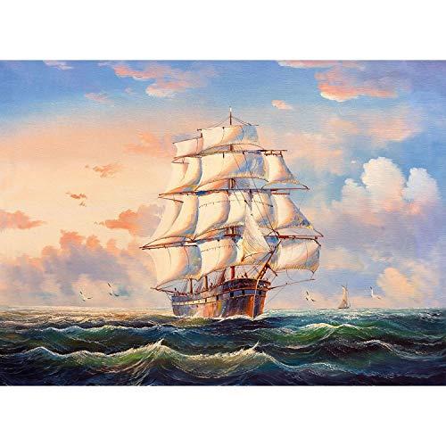 Bdgjln Puzzle 1000 Piezas-Viaje por mar-Jocuri educative, potrivite pentru adulți și copii, Care fac față scenelor stresante.-50x75cm