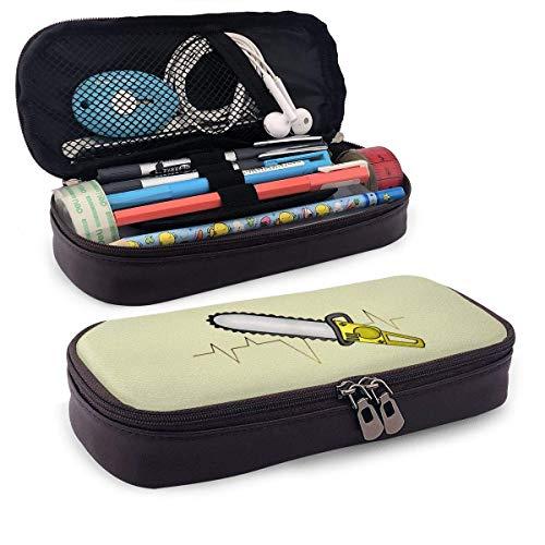 Lápices Estuche para bolígrafos Estuche para lápices de cuero Motosierra Latido del corazón Estuche para bolígrafos con cremallera Bolsa de papelería Estuche con cremallera Porta lápices