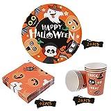 BESTonZON Halloween-Papiergeschirrset, Einwegbesteckset, Partyzubehör-Set 24, Inklusive Pappteller, 48 Servietten und 24 Tassen Geschirrset - 2