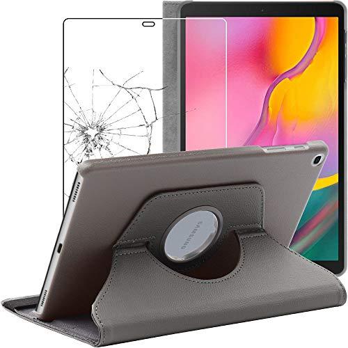 ebestStar - kompatibel mit Samsung Galaxy Tab A 10.1 Hülle 2019 T515 Rotierend Schutzhülle Etui, Schutz Hülle Ständer, Rotating Cover, Grau +Panzerglas Schutzfolie [Tab: 245x149x7.5mm 10.1