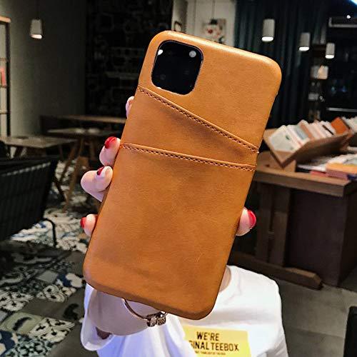 TGHUK iPhone hoesje, gele kaarthouder hoes PU leer portemonnee achterkant hoes anti-koptelefoon afdekking voor iPhone 11 Pro Max Xr X Xs Max 8 7 Plus