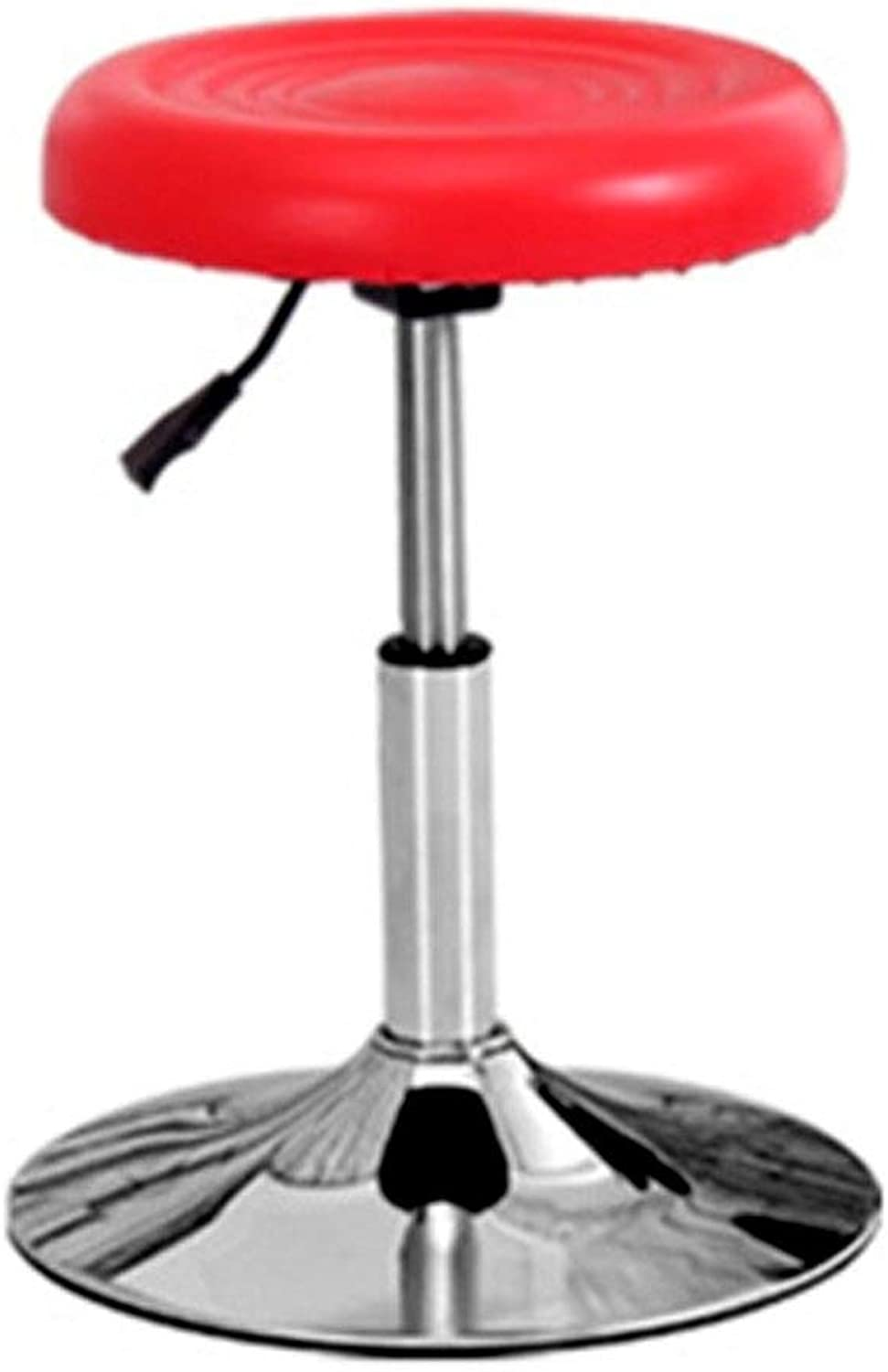 Metal Fashion Bar Stool Swivel Chair Beauty Stool Barber Chair Front Chair HENGXIAO (color   Red)