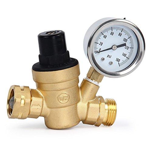 TargetEvo Adjustable Brass Lead-Free Water Pressure Regulator Reducer with Gauge Inlet Screened Filter for RV (NH Thread)