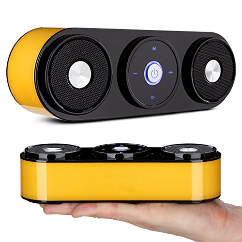 Novpeak Portable Wireless Mini Bluetooth Speaker with FM Radio and TF Card Slot for Home Car iPhone Samsung IOS Android Smart Phone and Tablet PC (Orange)