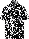 LA LEELA ntage Surf Pulsante Fino Camicie hawaiane per Gli Uomini 1890 Nero 447
