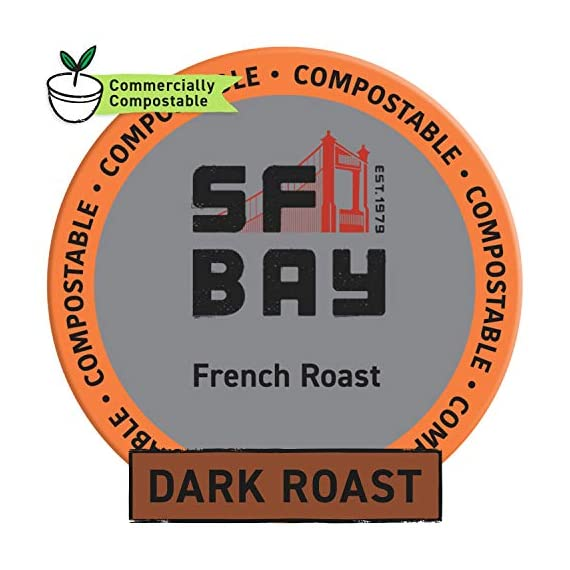 SAN FRANCISCO BAY SF Coffee OneCUP Ct Swiss Water Processed Dark Compostable Coffee Pods K Cup Compatible including… 2 We take a blend of the finest coffees from Central and South America, all choice selected, high altitude, shade grown and handpicked, then roasted very dark, to get a rich complex flavor creating the perfect French roast. This caffeinated dark roast has an intense, bold, and smoky flavor in every cup. We use only the best low acid, 100% Arabica coffee beans to ensure our coffee is the best tasting coffee to be found for your Keurig K-Cup style brewers and other single serve brewing systems. Our OneCup coffee pods are compatible with most Keurig K-Cup 1.0 and 2.0 brewers, as well as Cuisinart, Bunn, iCoffee and other single serve brewers. Our OneCups are the better choice of coffee for your single serve brewer, and the environment, all at a lower cost. Our OneCups are made from plant-based renewable resources, designed to offer a French Press experience to your single serve coffee, maximizing flavor and providing a richer and more full-bodied taste you will love to the last drop. Now you can have the highest quality coffee through the convenience of your singe serve brewer. OneCups mesh bottoms allow us to package the freshest product possible, just open up one of these bags and smell it for yourself! The OneCup pods are comprised of wood pulp lidding, a corn ring and mesh coffee filter. The end result? A more environmentally friendly, certified kosher, single serve coffee option with a great taste, allowing you to taste the difference, while you make a difference.