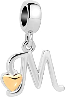 QueenCharms Initial A-Z Letter Charm Golden Heart Alphabet Dangle Beads for Bracelets & Necklaces
