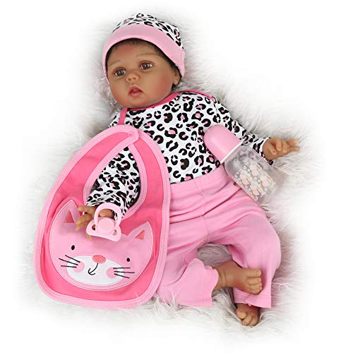 CHAREX Reborn Baby Doll 22 inch African American, Handmade Black Reborn Girl Doll Toy Gift Set
