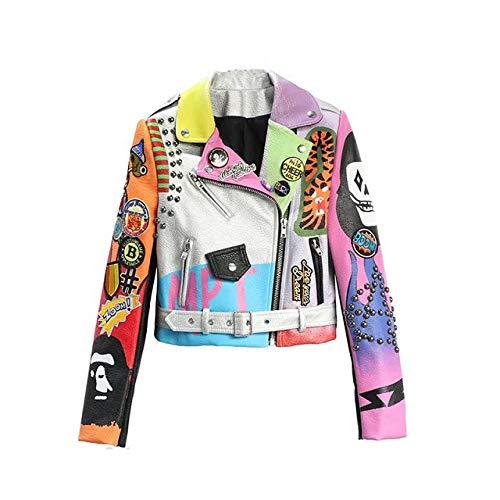 NCKLY Jacke Mit Damenprint Cropped Lederjacken Frauen Hip Hop Bunte Nieten Mantel Frühling Damen Motorrad Punk Cropped Jacke Mit Gürtel