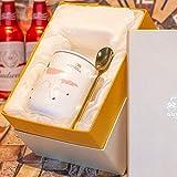 HRDZ Taza de Unicornio con Tapa Taza de Cuchara Personalidad Creativa Oficina Simple Taza de café de cerámica Desayuno Femenino