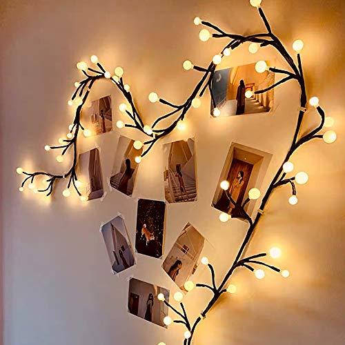 Luces de cadena globales, luces Led de 18 pies enchufadas, 8 modos de iluminación interior y exterior de Navidad, luces de jardín, cenadores, dormitorios, decoraciones de fiesta, blanco cálido