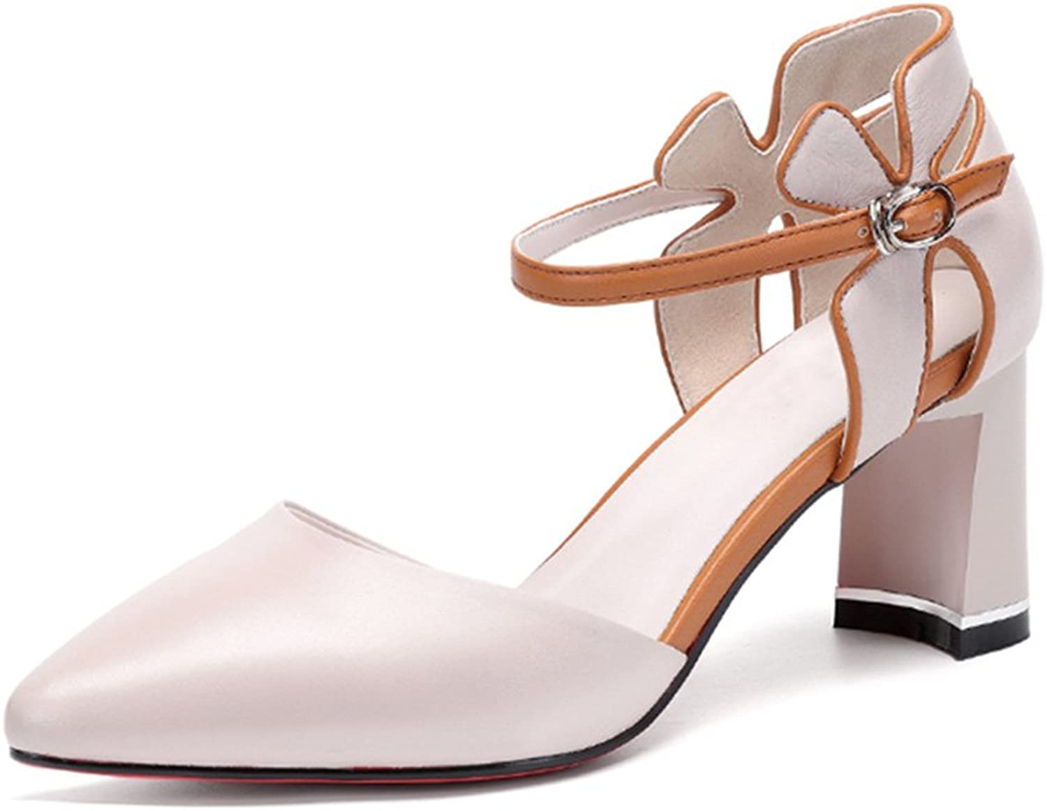 GAOFENG Sandals Footwear Women's shoes High Heels Open Toe Slingback Clip Ankle Adjustable Genuine Leather Baotou colorblock Pointed Flowers for Summer (color   White, Size   36)