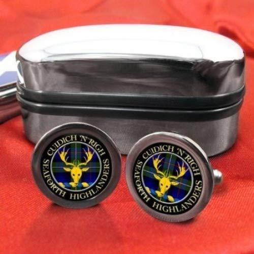 ) (Highlanders-Seaforth-Clan écossais pour homme Écusson Chrome Boutons de manchette avec coffret cadeau