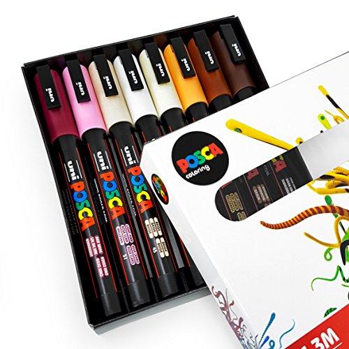POSCA–colorantes PC-3M–Skin Tones–Set de 8–en caja de regalo