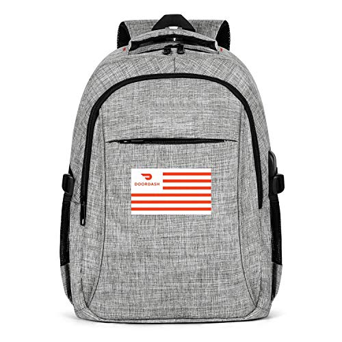 Laptop Backpack Water-Resistant Doordash-National-Flag-red-White-Logo- College School Bookbag with USB Charging Port for Men Womens School College Bookbag Fits 15.6 Inch Laptop Notebook-Grey