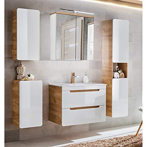 Lomadox Badmöbel Komplett-Set, Hochglanz weiß mit Wotaneiche, 80cm Waschtisch-Unterschrank mit Keramik-Waschbecken, LED-Spiegelschrank