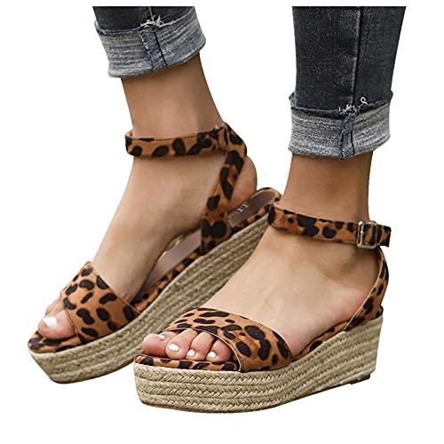 Compensées Sandales Femmes Été,Poisson Bouche Pantoufles Mode Hauts Chaussures Plateforme Sandales Loisirs Confort Bout Ouvert Chaussons Ete Espadrille Femmes d'extérieur