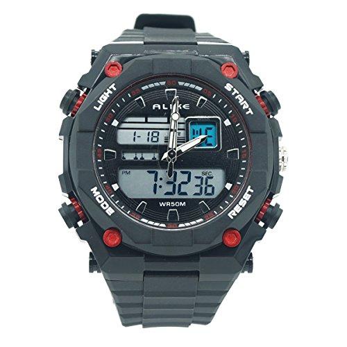 AUBIG ALIKE AK1275 Jungen Herren Armbanduhr Wasserdicht Dual Time Digital Analog Quartz Uhr Spotsuhr Multifunktionsuhr mit Hintergrundbeleuchtung Display