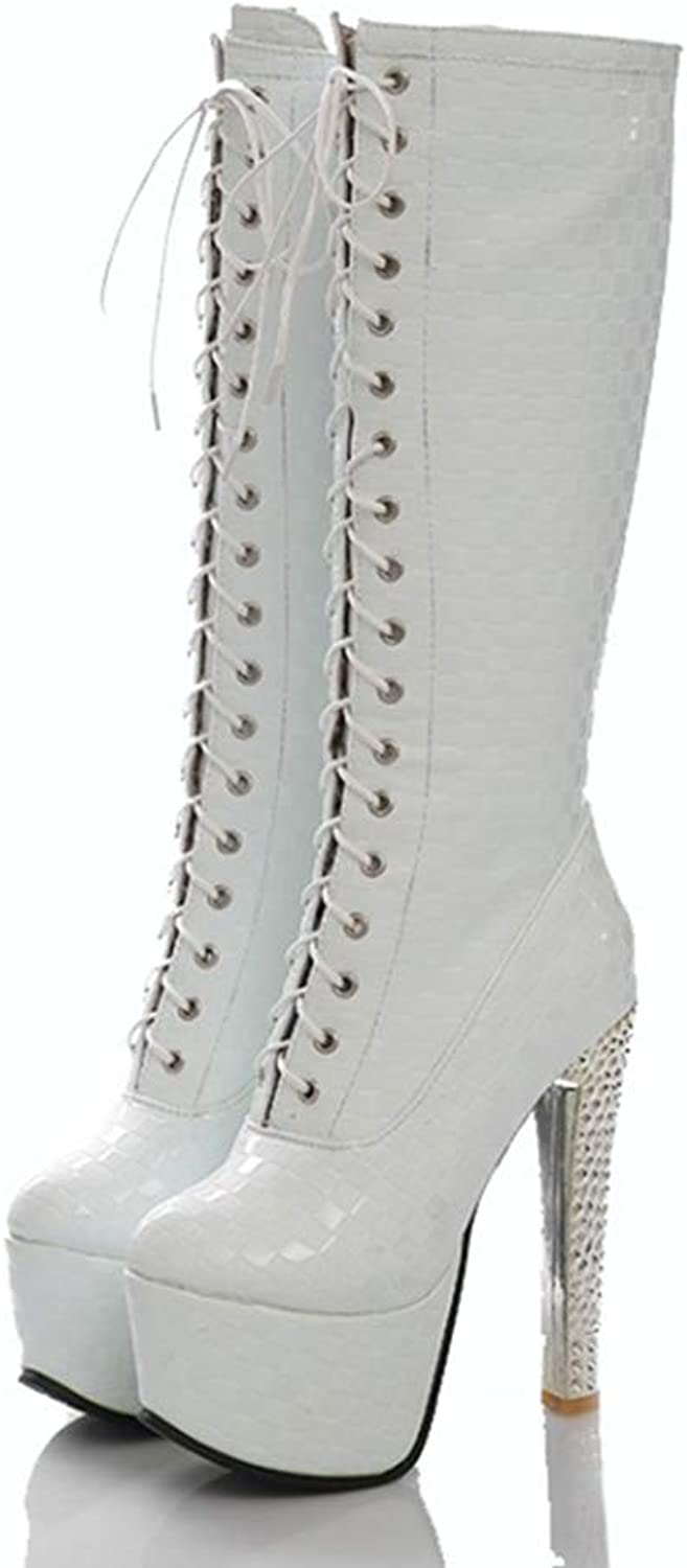 T-JULY Platform Mid Calf Boots Women shoes 15Cm High Heels Crystal Snakeskin Fenty Beauty Boots Fashion Gothic Lace Up Ladies Boots