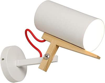 Wandlampe Weiß Schwenkbar Stoffschirm Holz E27 21cm Wandleuchte Strahler