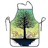 Cintura Árbol fantástico en una isla flotante azul Remolinos de colores Delantal de arte temático de cuento de hadas mágico Delantal de babero casero para mujeres Hombres Chica Niños Regalos Decoració
