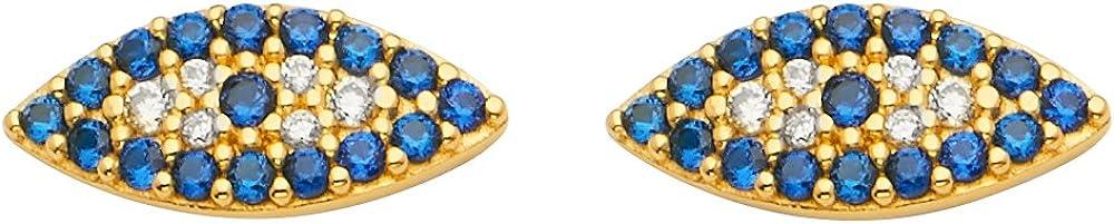 Sonia Jewels 14k Yellow Gold Evil Eye Cubic Zirconia CZ Push Back Stud Womens Earrings 6MM X 13MM