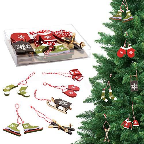 BELLE VOUS Decorazioni Natalizie in Legno (10 pz) Addobbi Natalizi in Legno Invernali- Oggetti in Legno Natalizi con Spago per Addobbi Albero di Natale- Decorazioni Albero di Natale Vari Modelli
