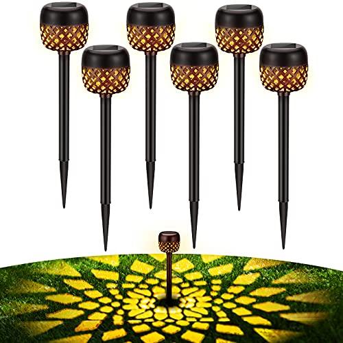 BUCASA Luces LED Solares para Exteriores, 6 Piezas Luz Solar Exterior con Patrón de Flores Blancas Cálidas, IP65 Impermeable Lampara Solarpara Exterior Jardin Pasillo, Césped, Patio