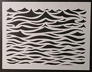 Custom Stencil Ocean Waves Wavey Wavy Wave Water Pattern 11 x 8.5