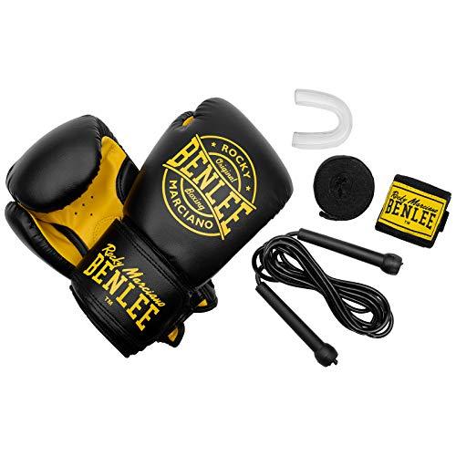 Benlee Boxhandschuhe Box-Set Für Erwachsene Starter Set Wingate, Farbe:Black, Größe:10 oz