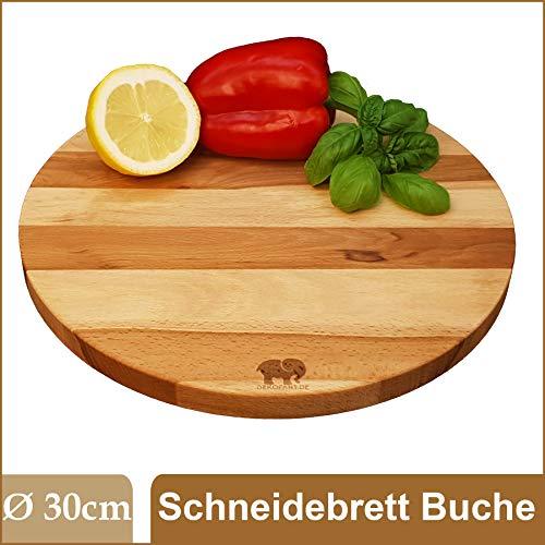 DEKOFANT Buche-Schneidebrett Ø 30 x 2cm Fleischbrett Servierbrett Holzbrett Käsebrett geölt rund