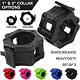 """Quick-Release Safety Collars for Olympic Barbells, 2"""" Plates by D1F, Set of 2 - Weight Locking..."""