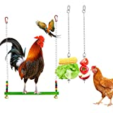 Yotako 2 Pack Bird Food Holder, Foraging Toy Parrot Fruit Vegetable Stick Holder Chicken Veggies Skewer Fruit Hanging Feeder with 1 Pieces Chicken Swing Toys for Cockatiels Birds Pet