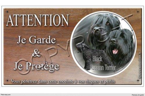 Panneau chien ou plaque Black-Russian-Terrier-01 20 cm