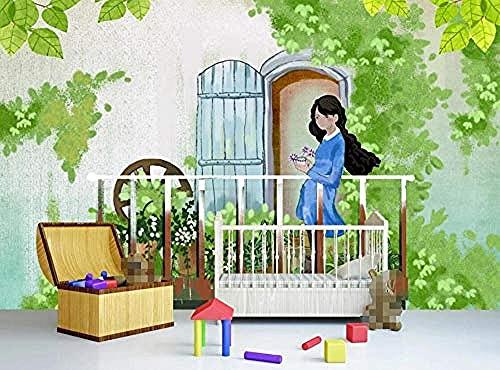Handgemalte Balkon Pflanze Mädchen Wallpaper Tapete wandpapier fototapete 3d effekt tapeten Wohnzimmer Schlafzimmer kinderzimmer-350cm×256cm
