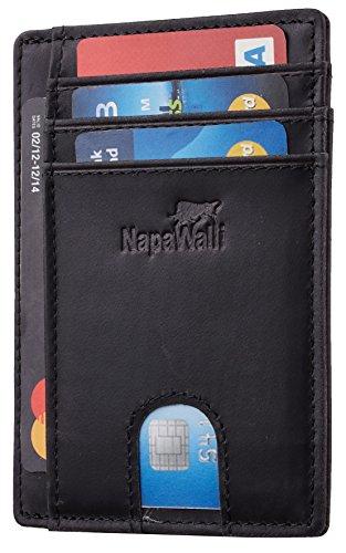 Toughergun RFID Blocking Minimalist Genuine Leather Slim Front Pocket Wallet U (Crazy Horse Black Premium)