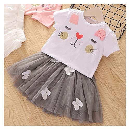 Youpin Conjuntos de ropa de verano para niñas princesa con manga volador+falda de malla de gasa con lazo grande, 2 piezas para bebés y niños (color: MX135 blanco, talla para niños: 7)