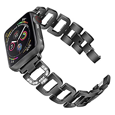 PUGO TOP Compatible with Bling Apple Watch Band 38mm 42mm 40mm 44mm Series 5 4 3 2 1 Iwatch Replacement Bracelet Band Wristband Strap iPhone Watch Bangle Band Stainless Steel Metal for Women