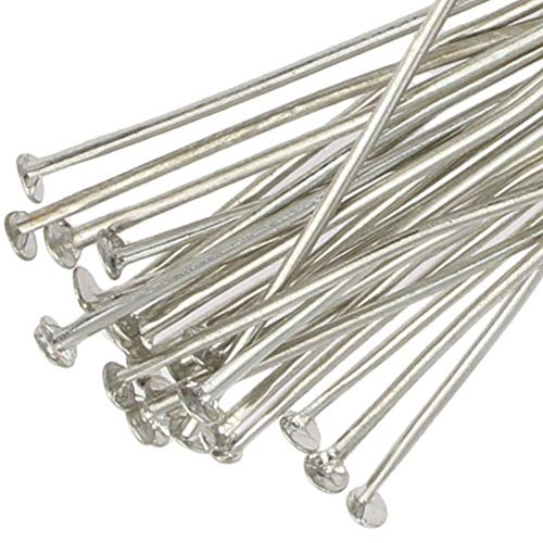250 Headpins for Jewellery Making Silver Plated 40mm x 0.7mm Metal Head Pins Findings