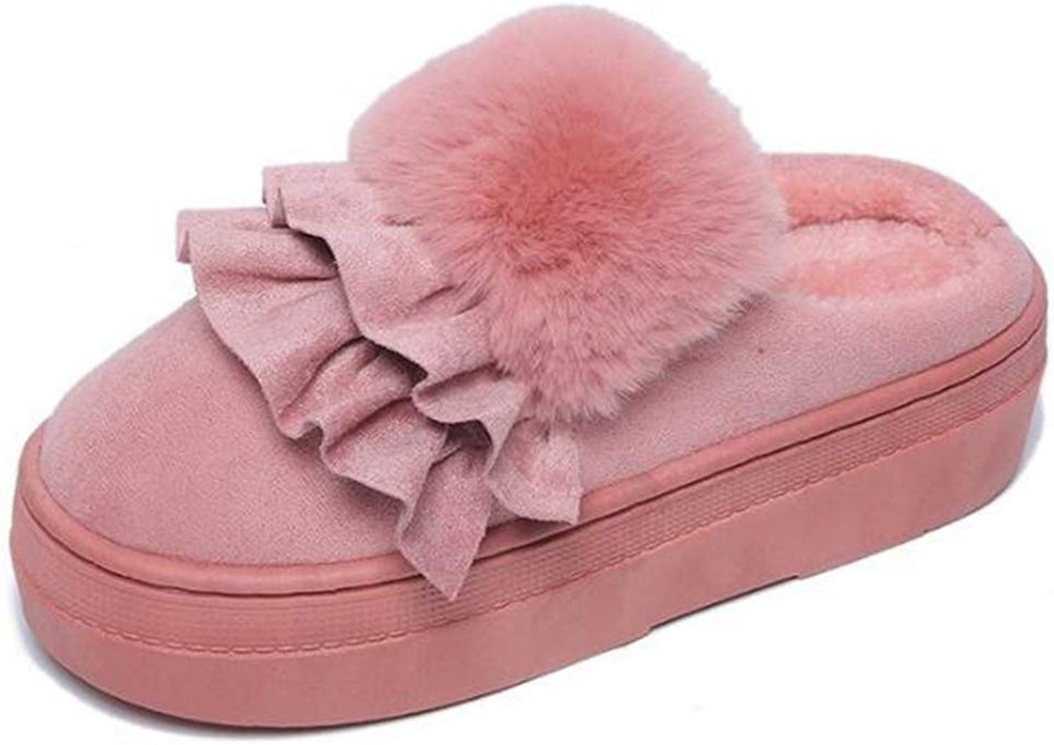 T-JULY Women Slippers Winter Warm Fur Home Platform shoes Girl Soft Non-Slip Indoor Wedges Slides shoes with Ruffles