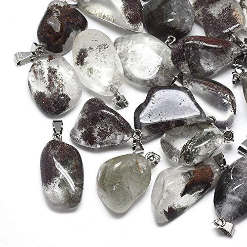 Fashewelry 10Pcs Natural Irregular Lodolite Quartz Gemstone Pendants Healing Crystal Chakra Tumbled Stone Charms for Jewelry Craft Making